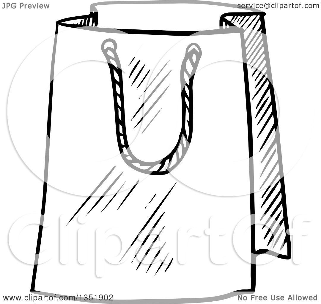 Clipart of a Black and White Sketched Gift or Shopping Bag ...