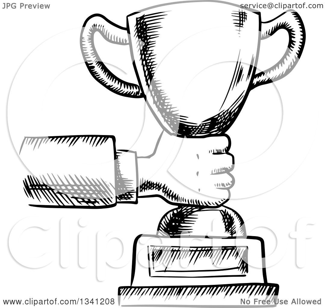 Clipart Of A Black And White Sketched Hand Holding Out Trophy