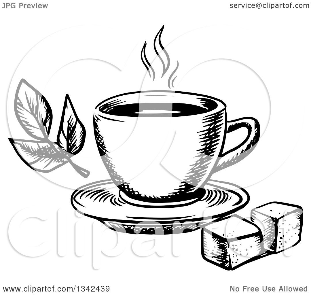Larger preview vector clip art of a happy yellow coffee cup character - Clipart Of A Black And White Sketched Hot Tea Cup Sugar Cubes And Leaves Royalty Free Vector Illustration By Vector Tradition Sm