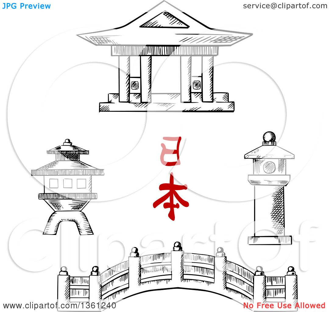 Clipart Of A Black And White Sketched Japanese Bridge Temple Stone Lanterns