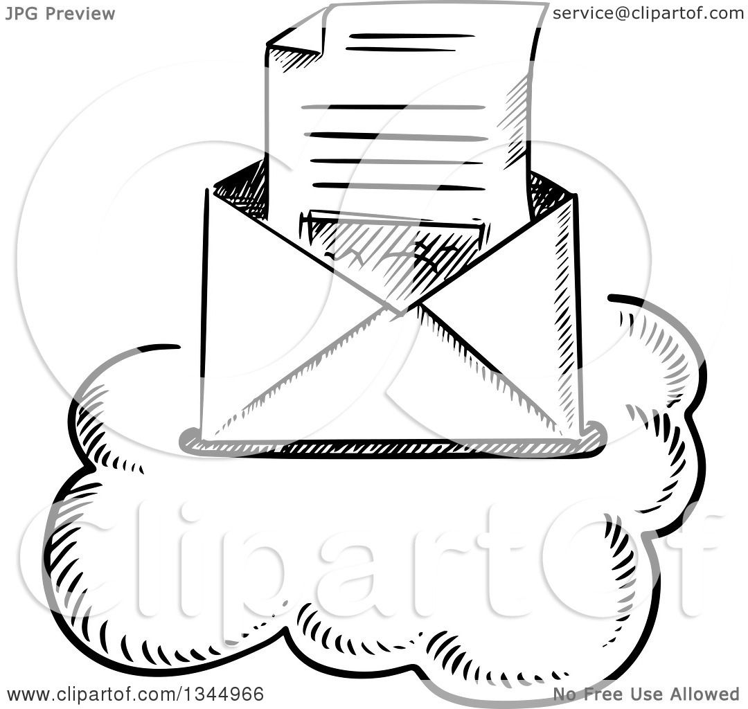 Clipart of a Black and White Sketched Letter in an ...