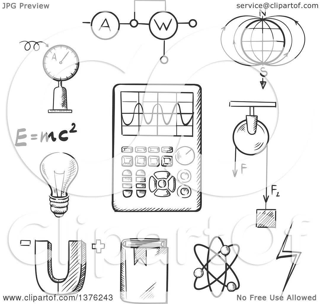 clipart of a black and white sketched magnet  electric