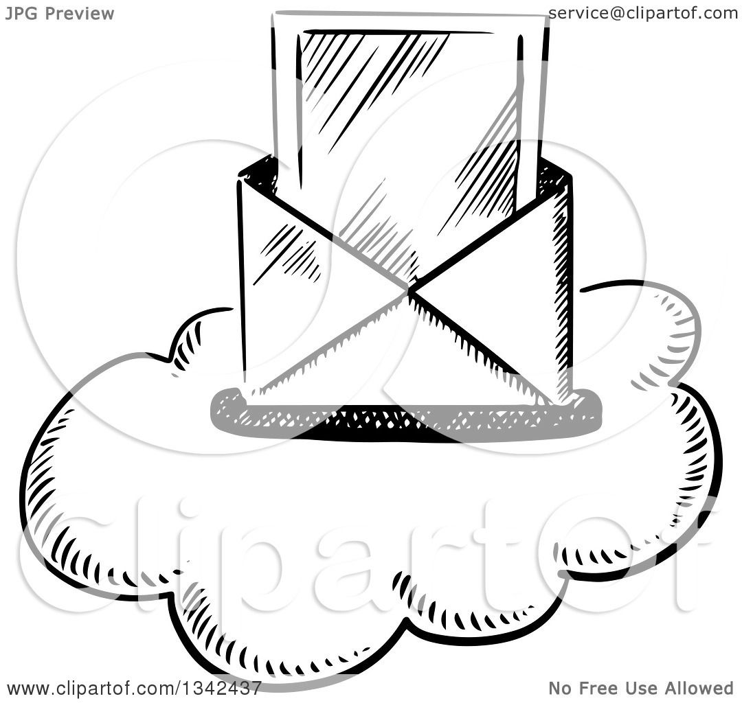 Clipart of a Black and White Sketched Mail Envelope and ...
