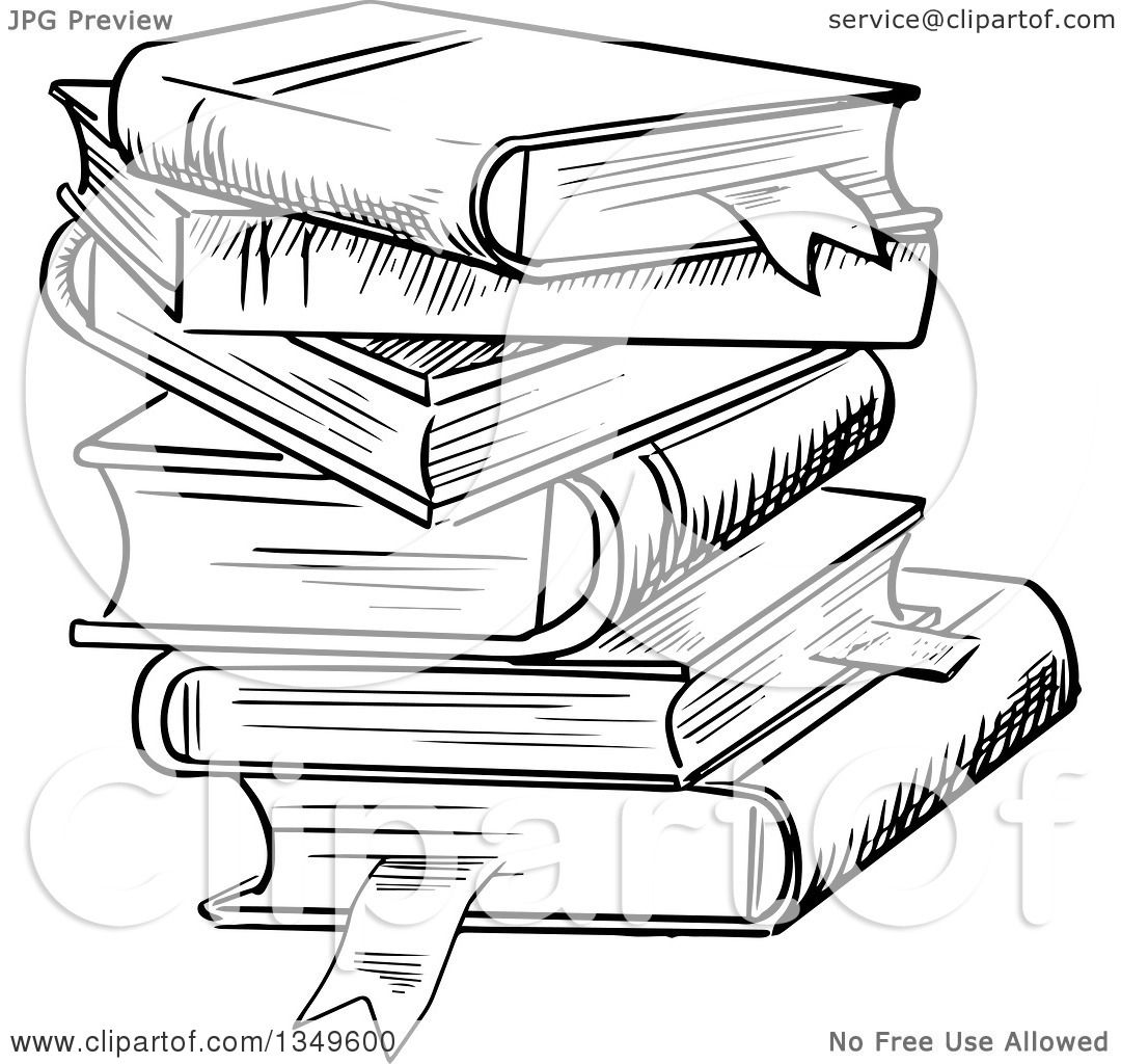 clipart of a black and white sketched messy stack of books