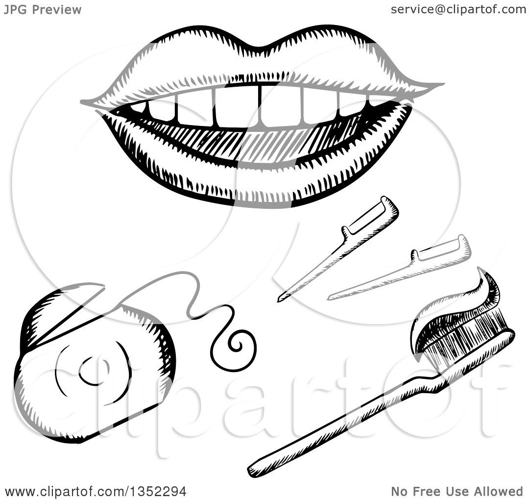 Clipart Of A Black And White Sketched Mouth Floss And