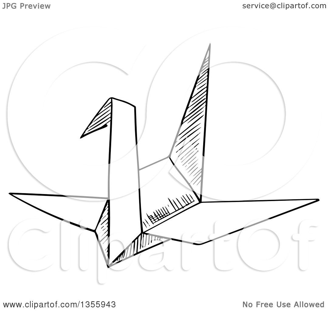 Clipart Of A Black And White Sketched Origami Crane