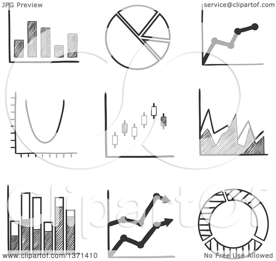 Clipart of a Black and White Sketched Pie Graph, Bar Graphs, Arrow ...