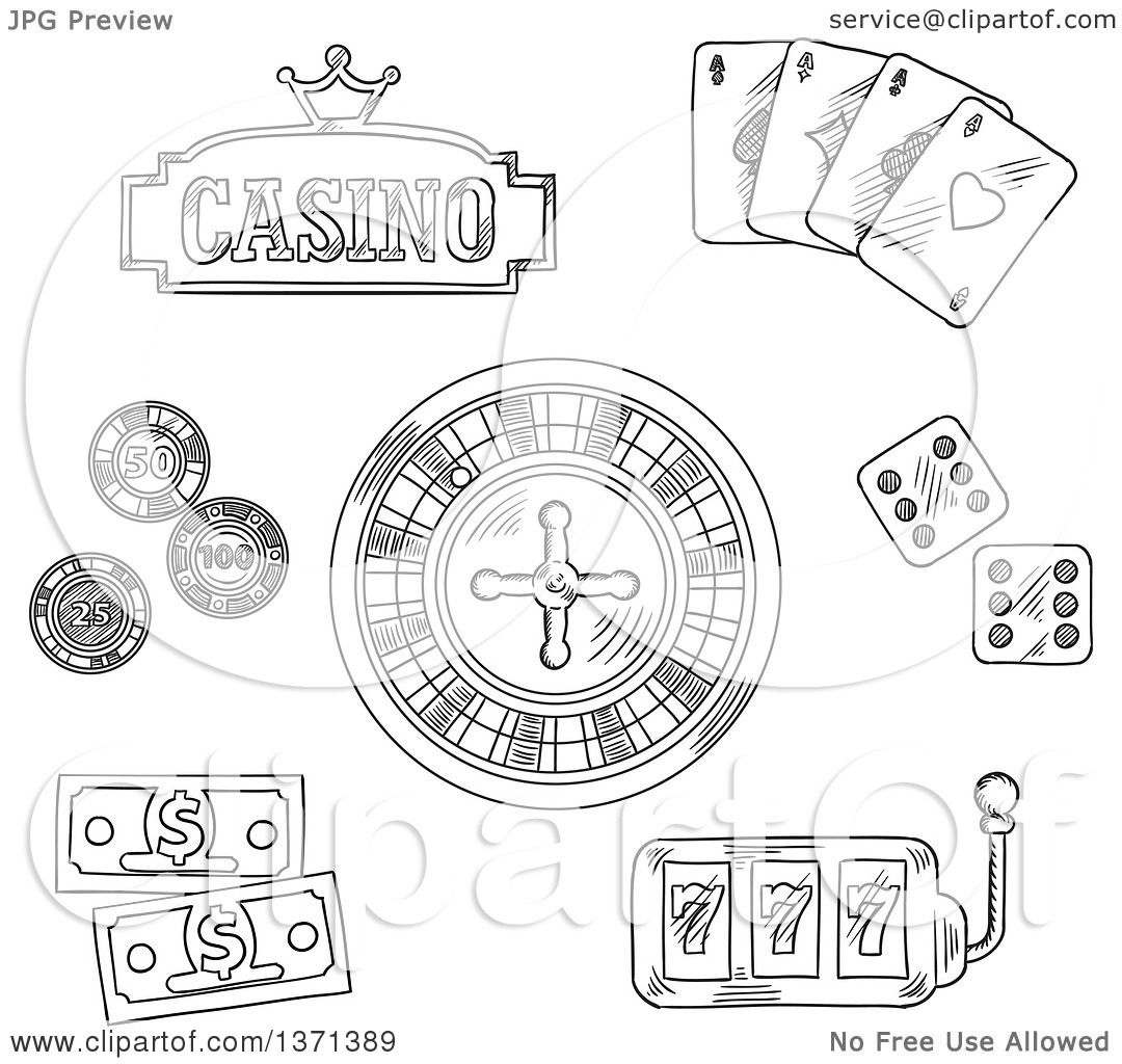 clipart of a black and white sketched roulette wheel dice playing cards gambling chips. Black Bedroom Furniture Sets. Home Design Ideas