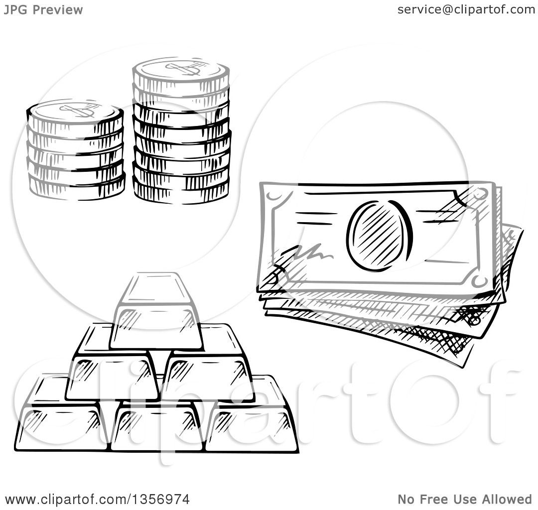 Clipart of a Black and White Sketched Stack of Coins, Cash ...