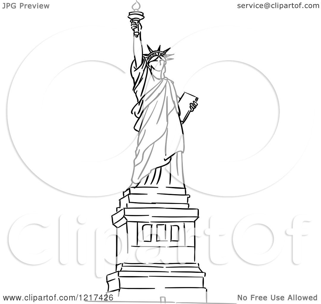 Clipart of a Black and White Sketched Statue of Liberty - Royalty ...