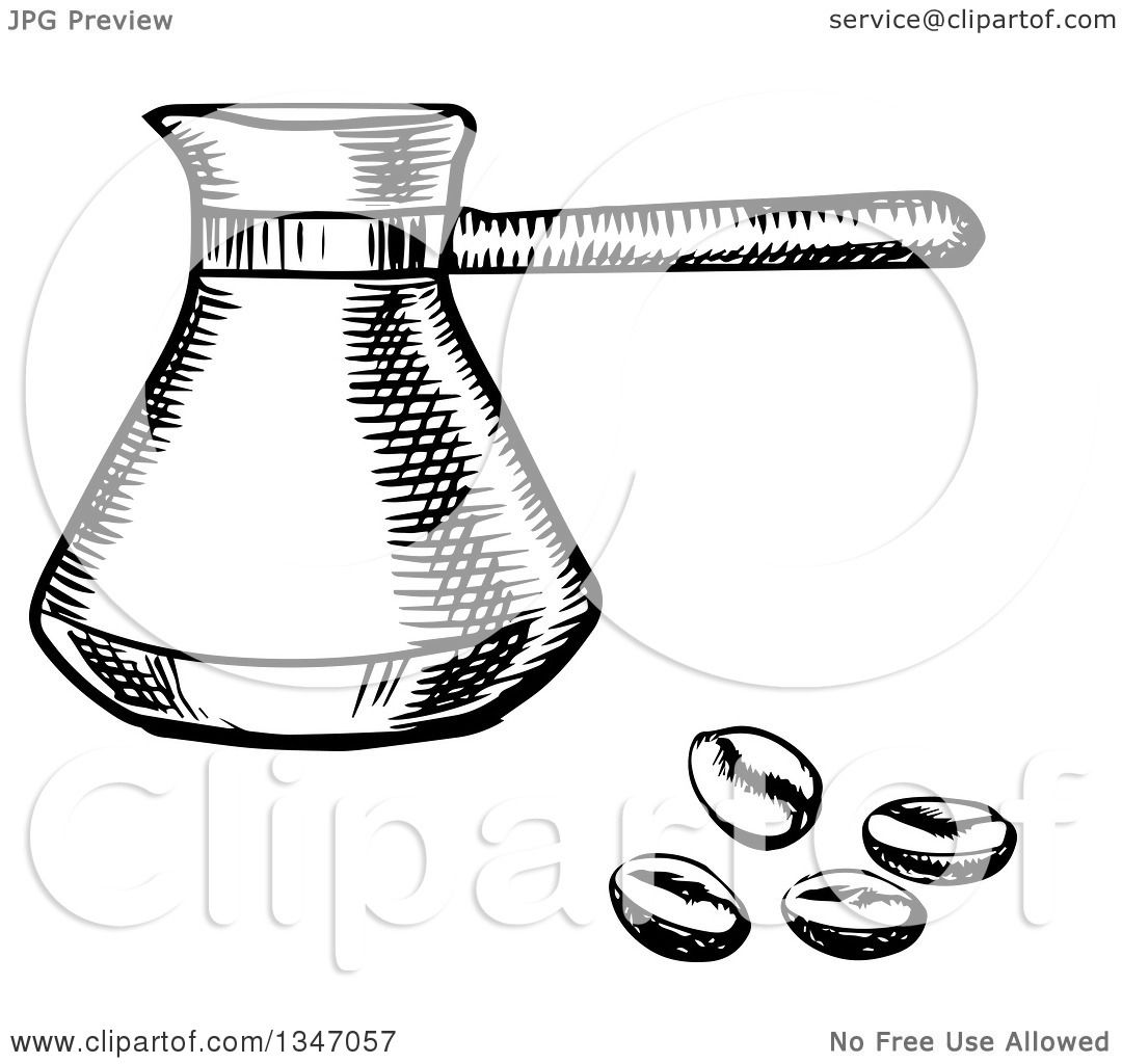 Clipart of a Black and White Sketched Turkish Cezve and ...