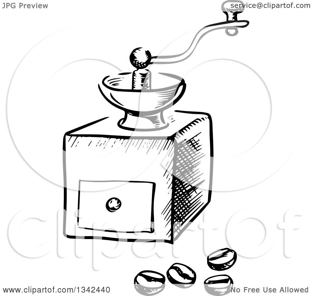 Clipart of a Black and White Sketched Vintage Coffee ...
