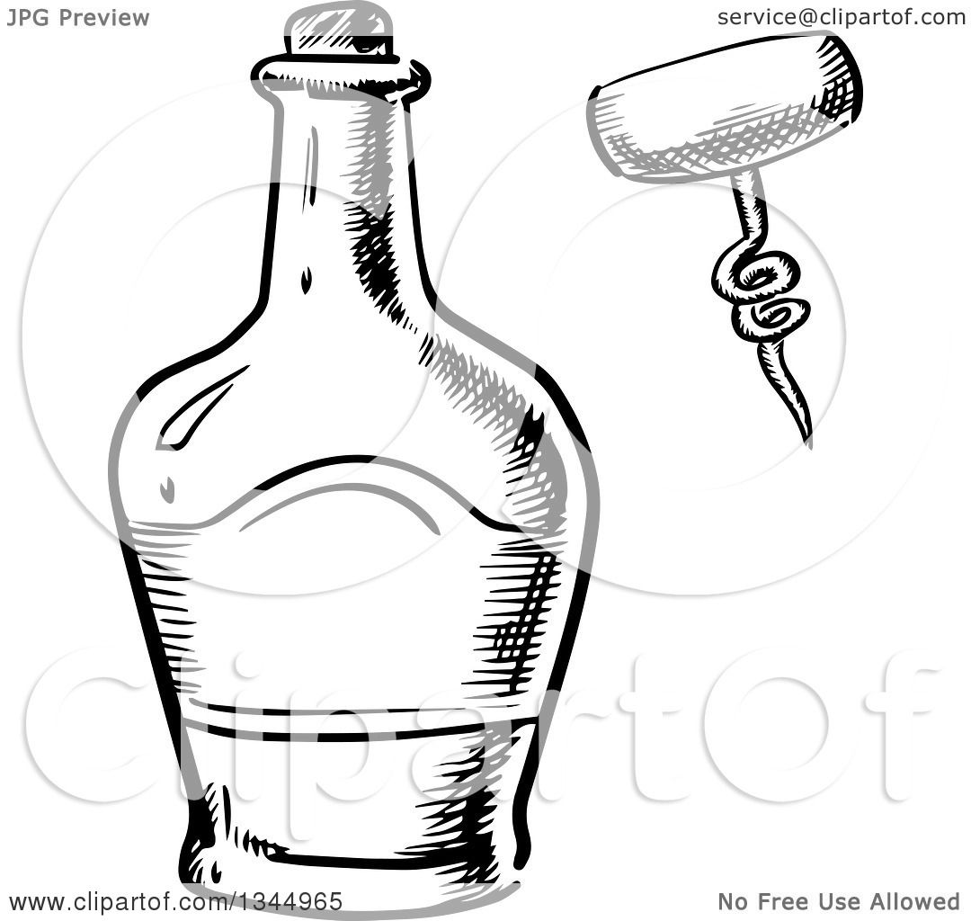 Clipart Of A Black And White Sketched Whisky Bottle And