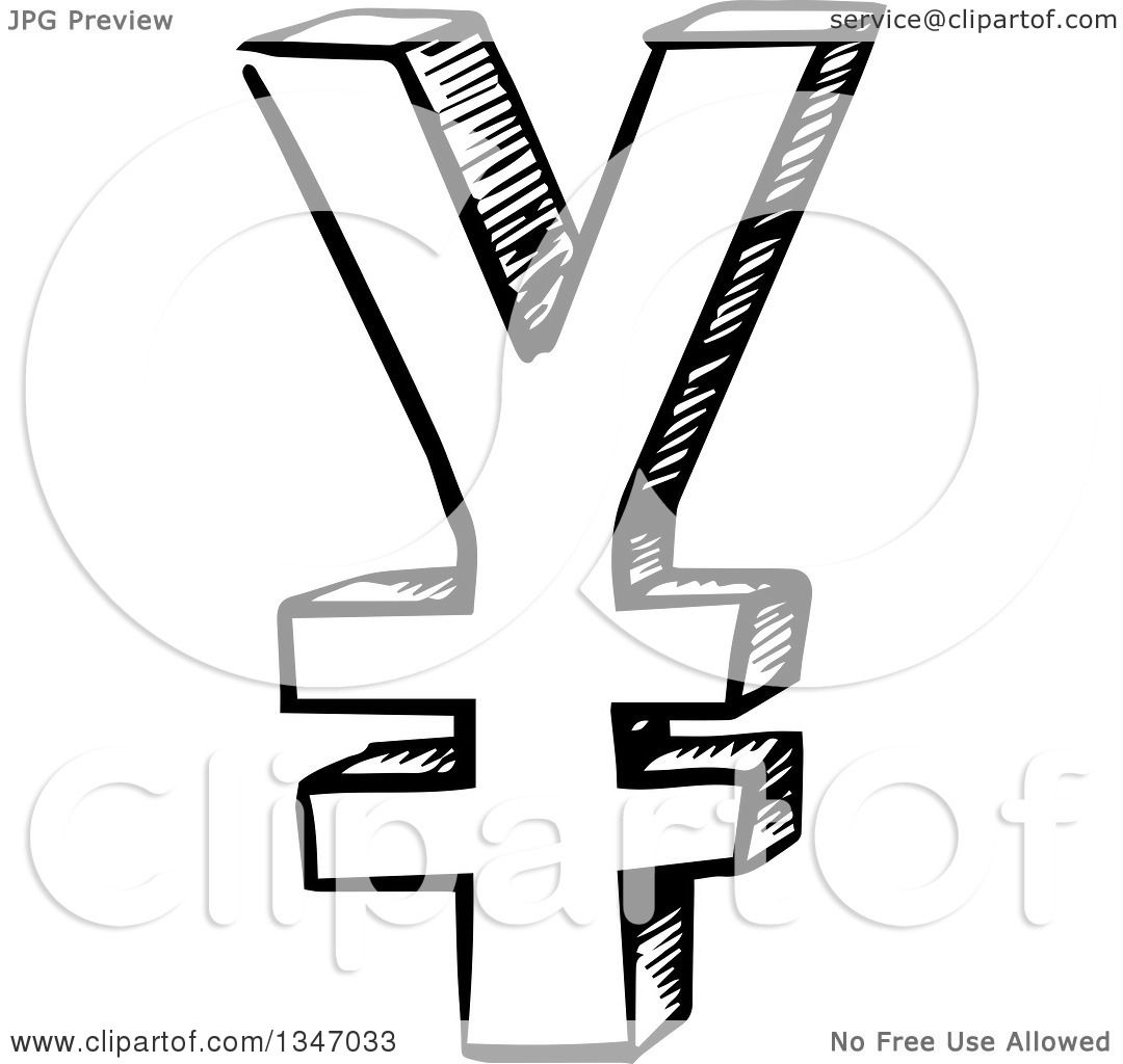 Clipart of a black and white sketched yen currency symbol clipart of a black and white sketched yen currency symbol royalty free vector illustration by vector tradition sm biocorpaavc