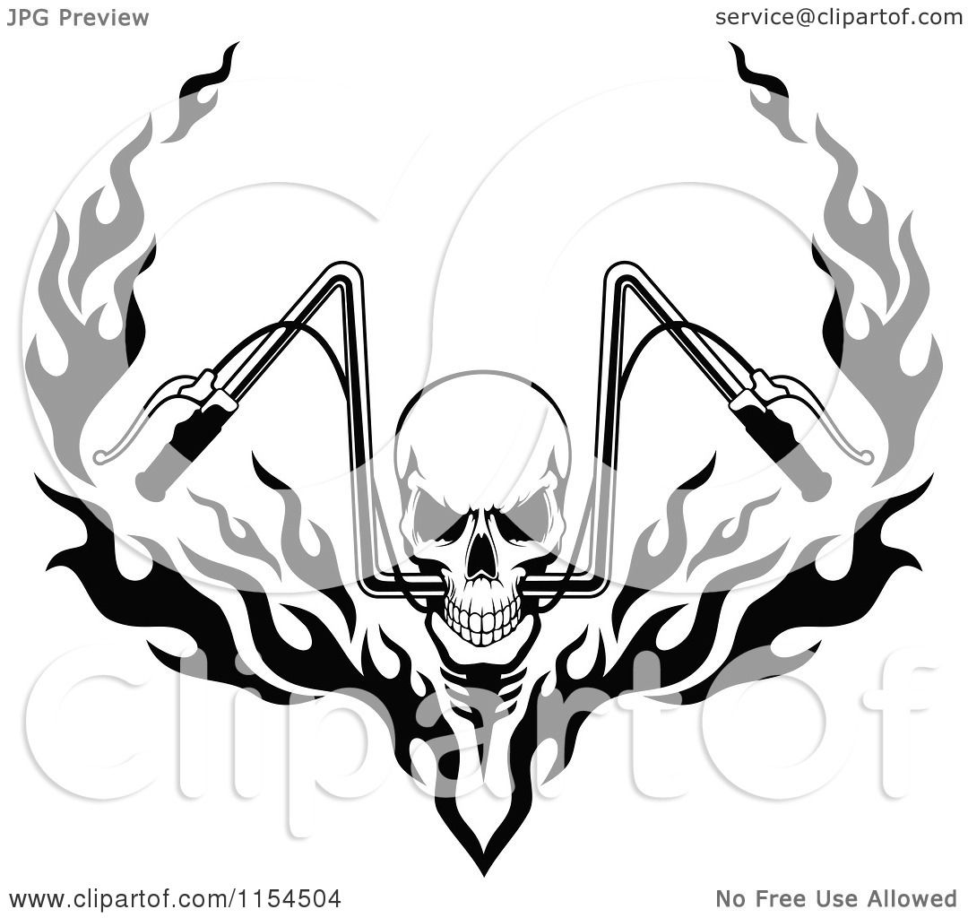 Clipart of a black and white skull with flaming motorcycle handlebars