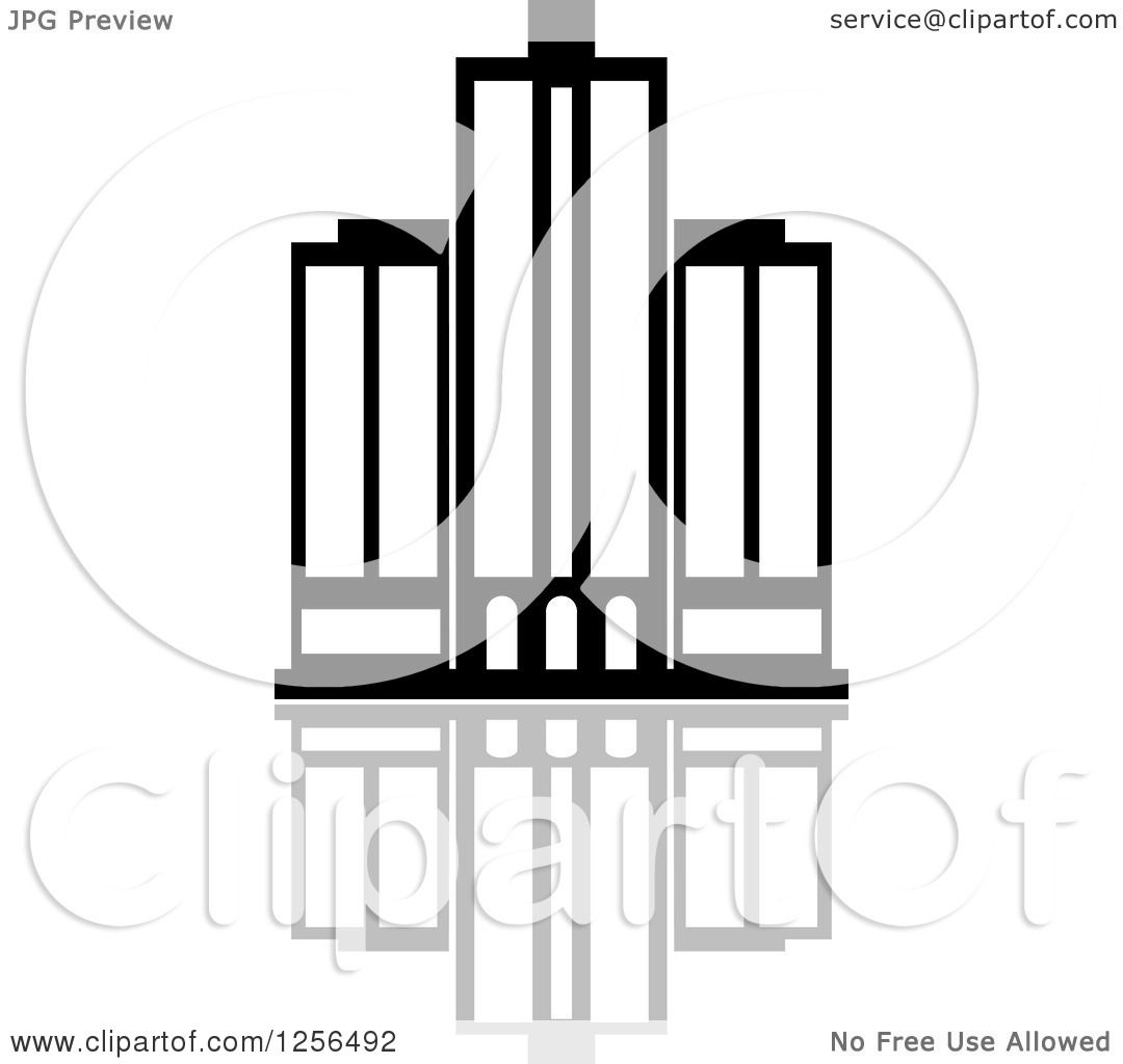 Clipart Of A Black And White Skyscraper Building With Reflection