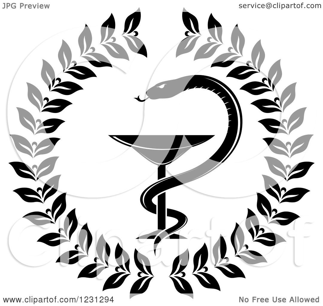 Clipart of a black and white snake and medical caduceus with a clipart of a black and white snake and medical caduceus with a wreath royalty free vector illustration by vector tradition sm buycottarizona Image collections