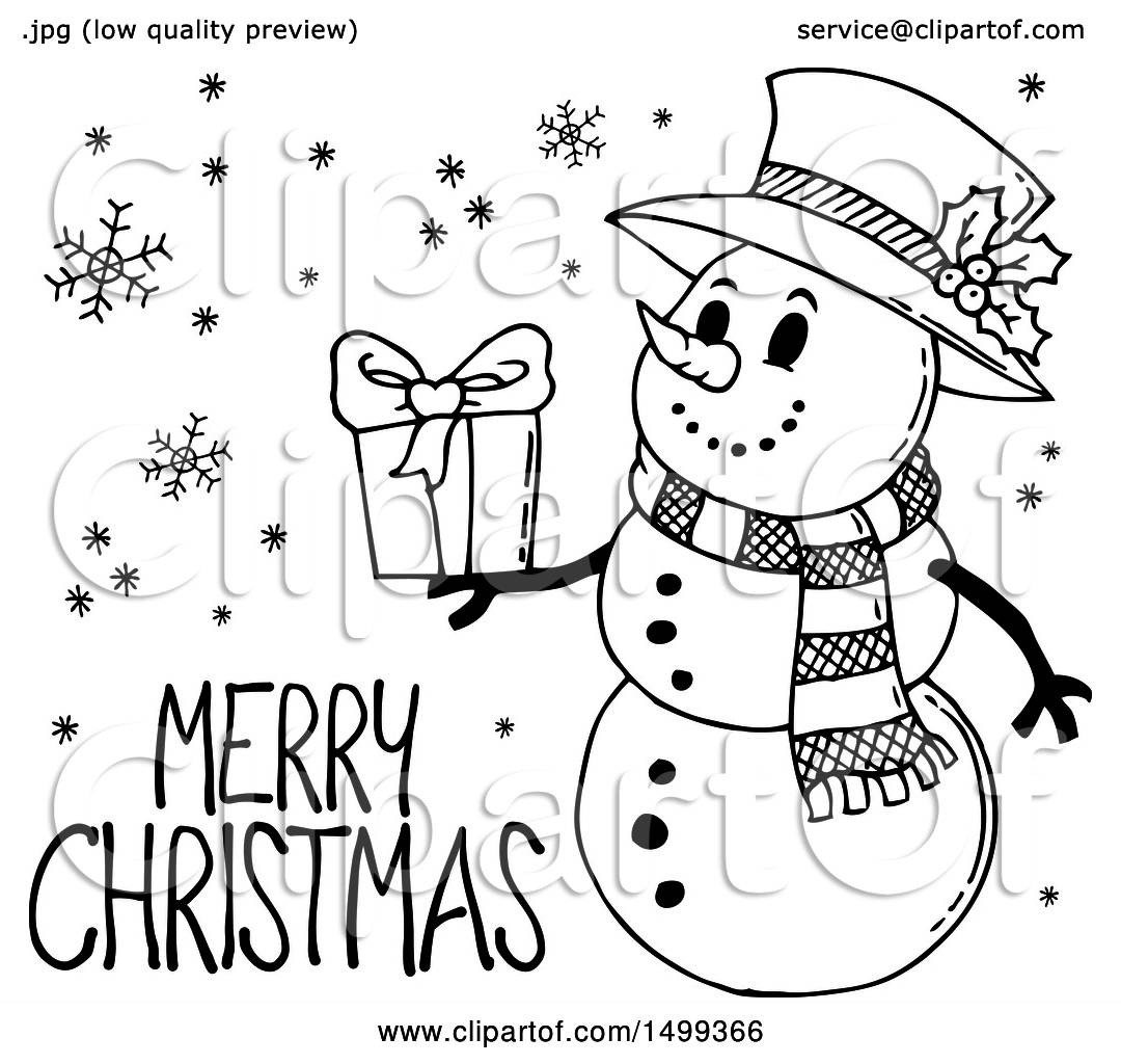 Clipart of a black and white snowman with a merry christmas greeting clipart of a black and white snowman with a merry christmas greeting royalty free vector illustration by visekart m4hsunfo