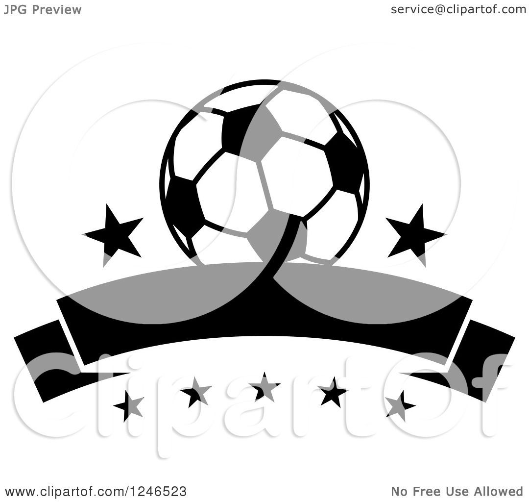 Clipart of a Black and White Soccer