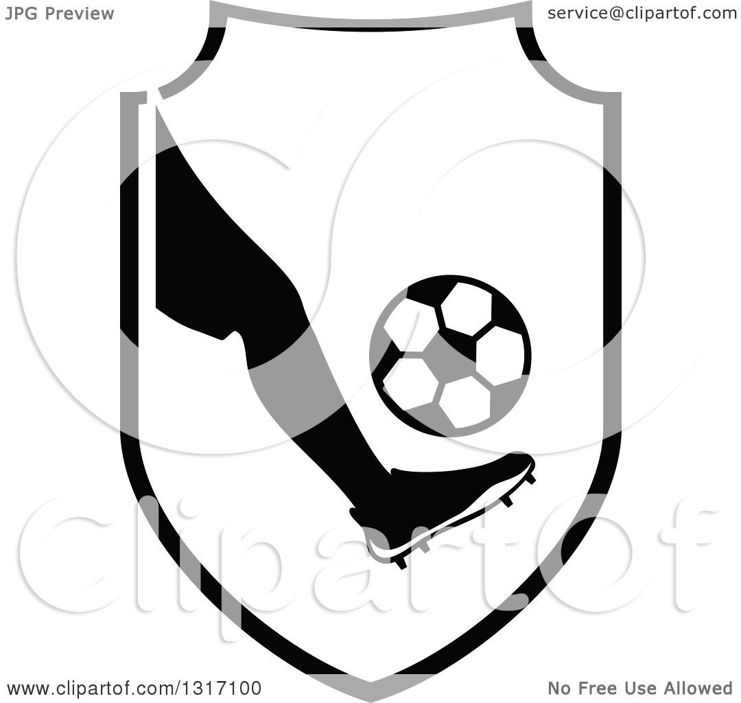 9cf02b98a02 Clipart of a Black and White Soccer Ball Player s Foot Kicking a Ball in a  Shield. Image © 2019 Vector Tradition SM. Royalty free clipart illustration  ...