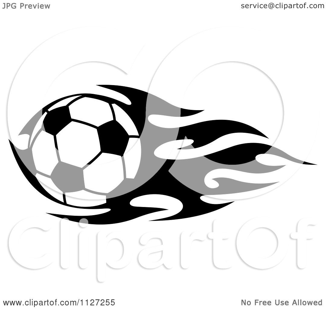 Clipart Of A Black And White Soccer Ball With Tribal ...