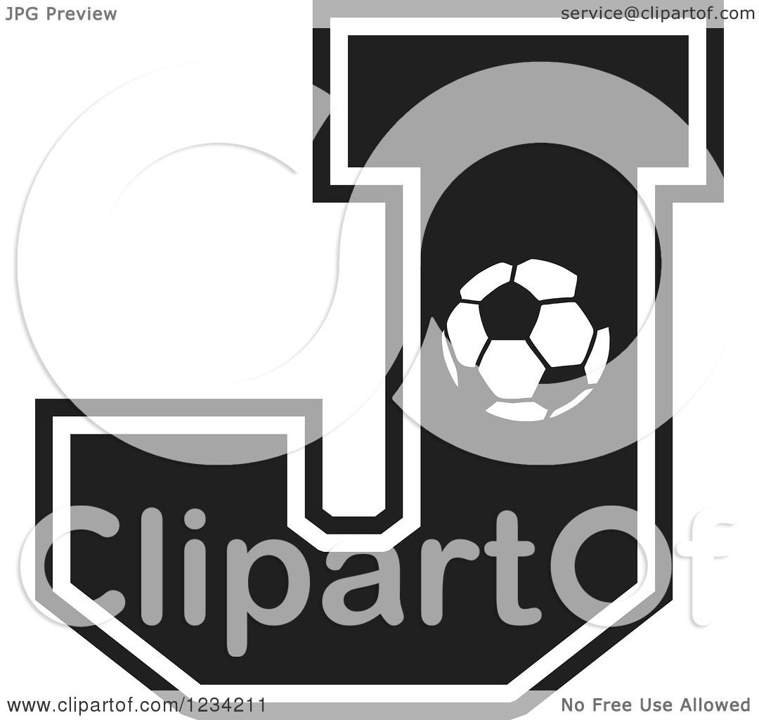 Clipart Of A Black And White Soccer Letter J Royalty Free Vector