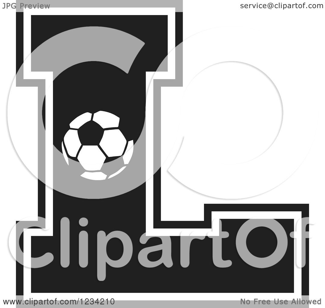 Clipart Of A Black And White Soccer Letter L Royalty Free Vector