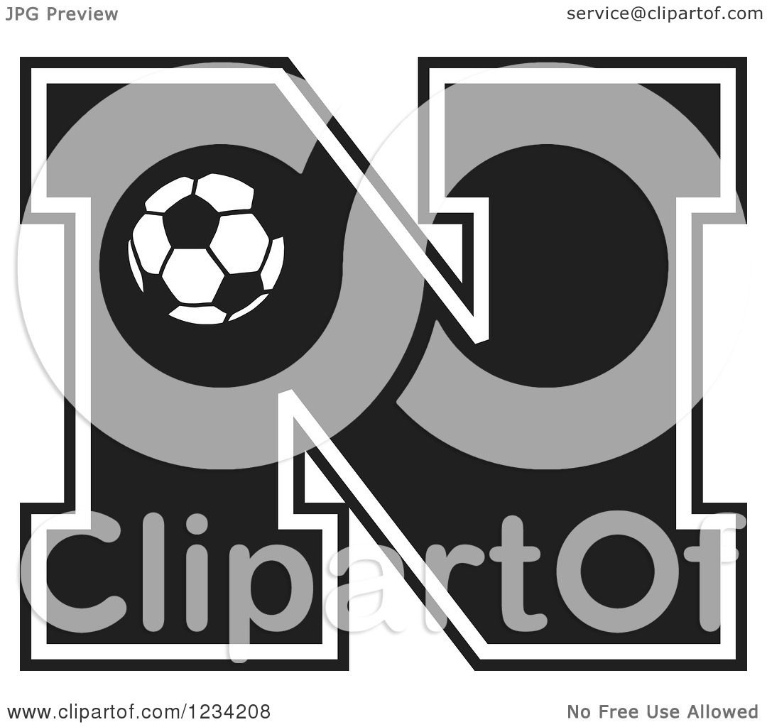 Clipart of a Black and White Soccer Letter N - Royalty ...