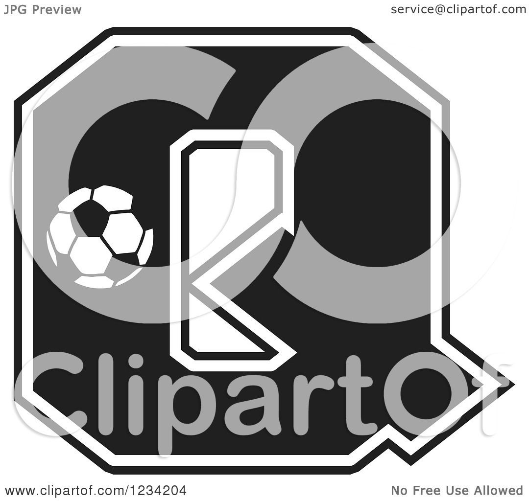 Clipart Of A Black And White Soccer Letter Q Royalty Free Vector