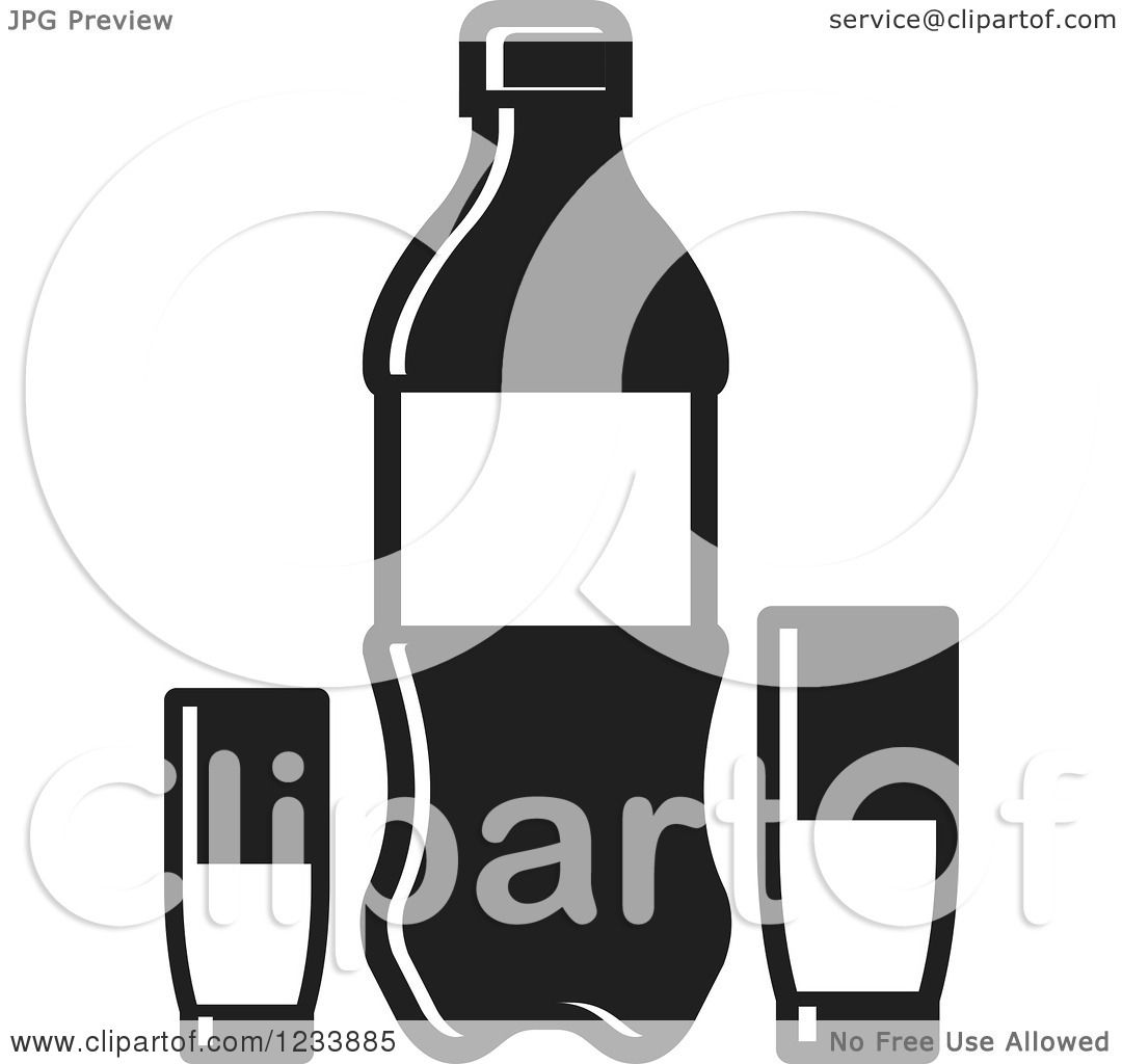 Clipart of a black and white soda bottle and cups 2 - Clipart illustration ...