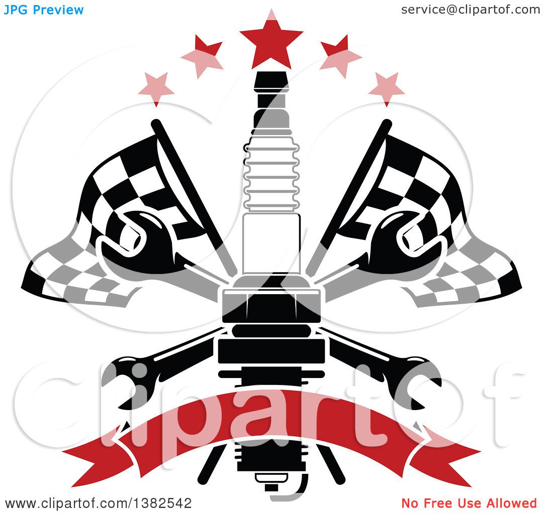 Clipart Of A Black And White Spark Plug, Crossed Wrenches -3509