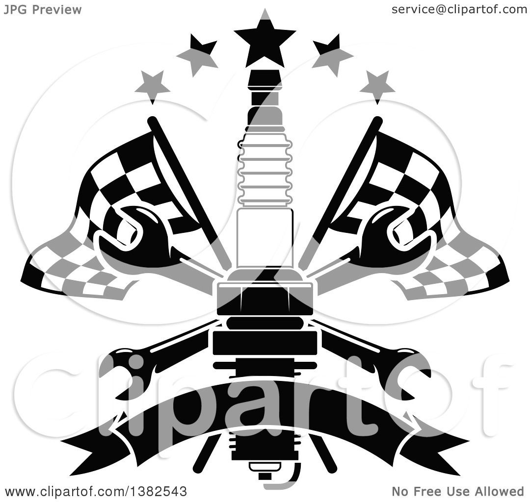 Clipart Of A Black And White Spark Plug Crossed Wrenches Blank