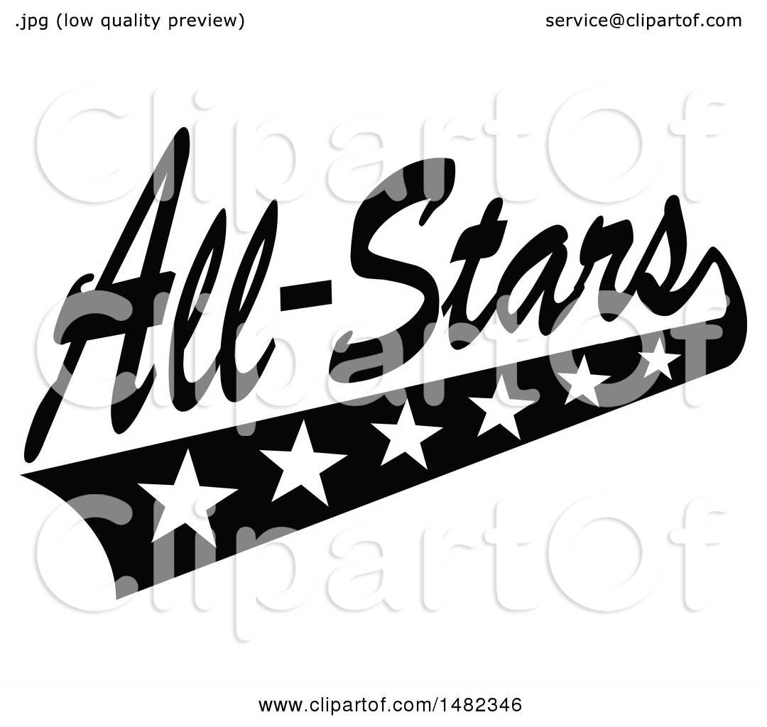 Clipart of a Black and White Sports All Stars Design with ...