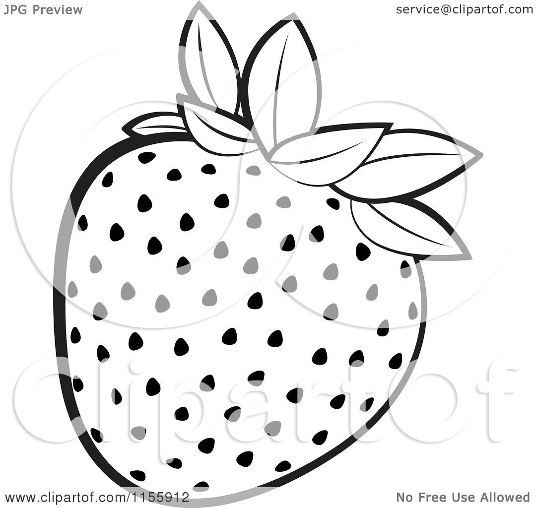 Clipart of a Black and White Strawberry - Royalty Free Vector ... for Clipart Strawberry Black And White  186ref
