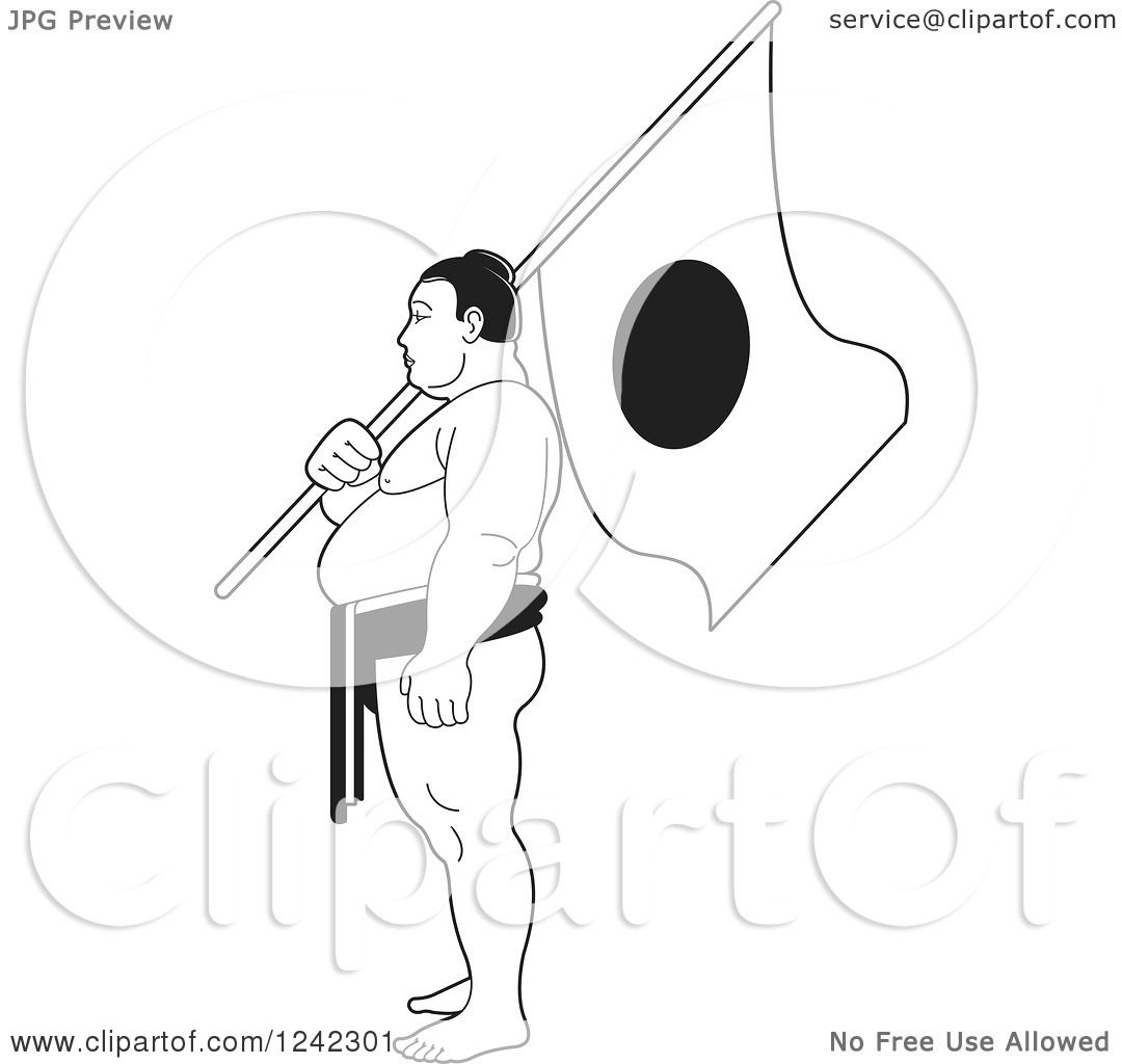 Clipart of a Black and White Sumo Wrestler Holding a Japanese Flag ...