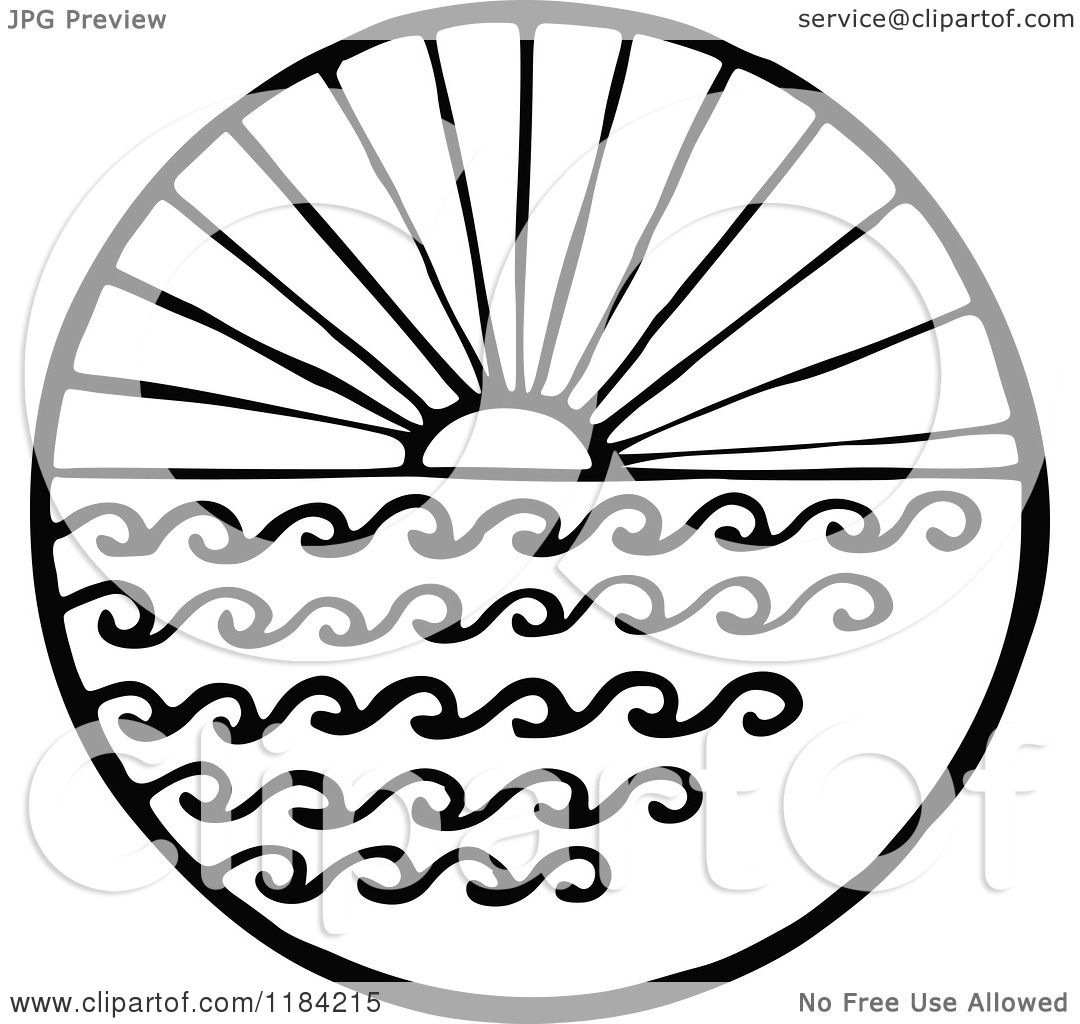 Clipart of a Black and White Sun and Sea Circle - Royalty ...