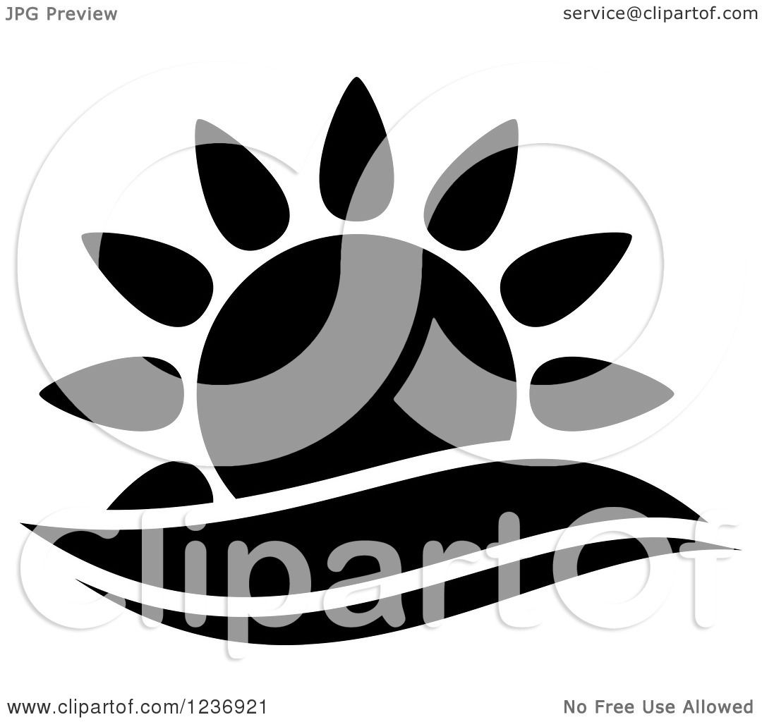 Clipart of a Black and White Sun and Surf Icon - Royalty ...
