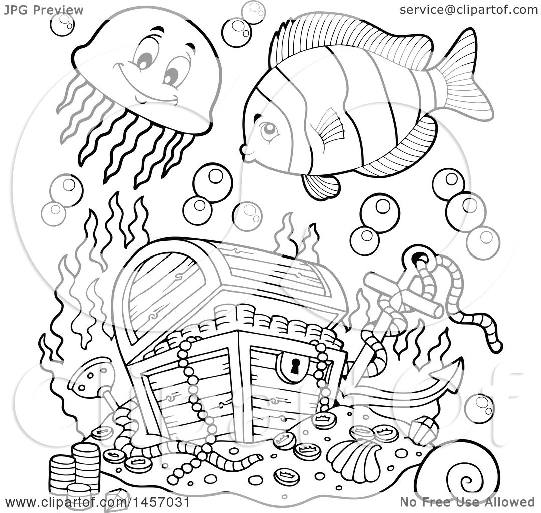 Clipart of a Black and White Sunken Treasure Chest and ...