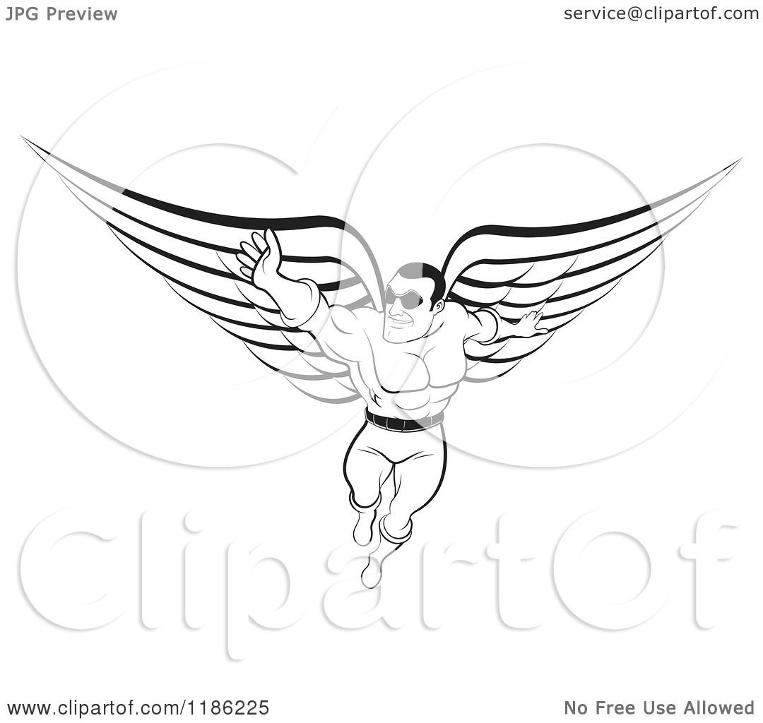 Clipart Of A Black And White Super Hero Man With Wings
