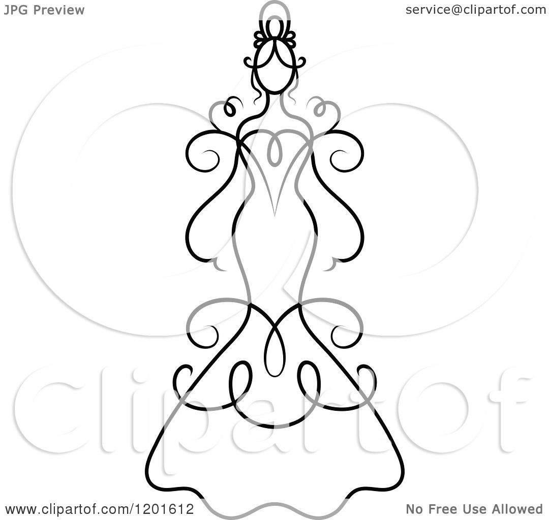 Wedding Gown Clip Art: Clipart Of A Black And White Swirly Bride In A Wedding