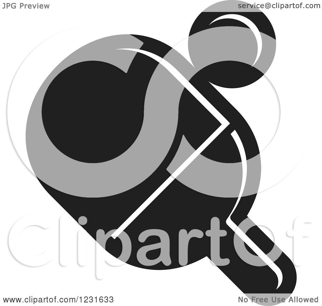 Clipart of a Black and White Table Tennis Paddle and Ball ...
