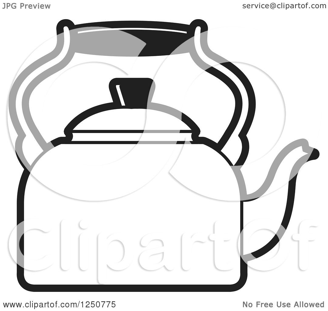 Tea Kettle Clip Art ~ Clipart of a black and white tea kettle royalty free