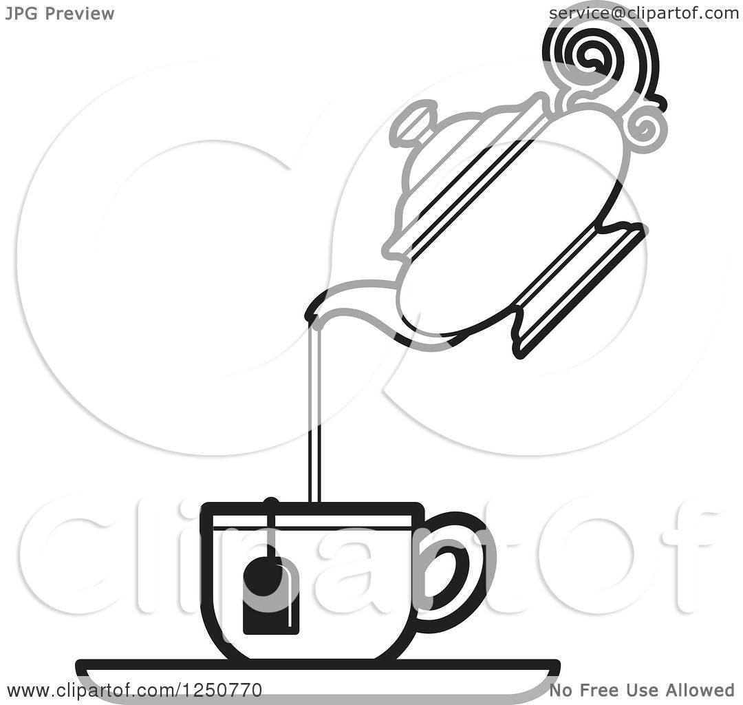 Clipart Of A Black And White Tea Pot Pouring Into A Cup