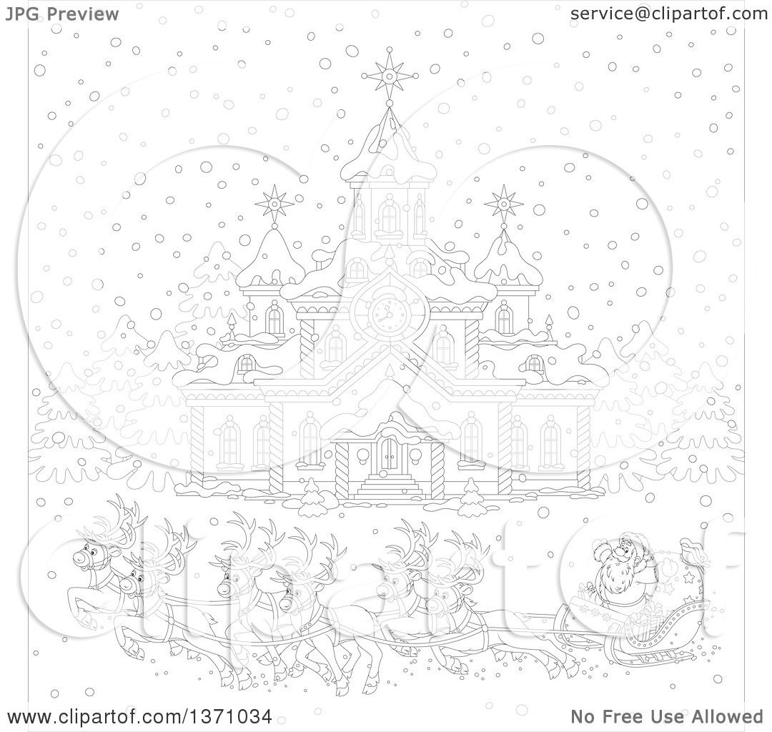 reindeer pulling sleigh coloring pages - photo#24