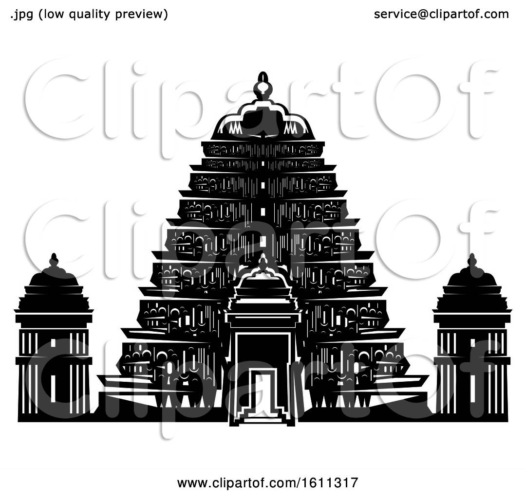 Clipart Of A Black And White Temple Royalty Free Vector
