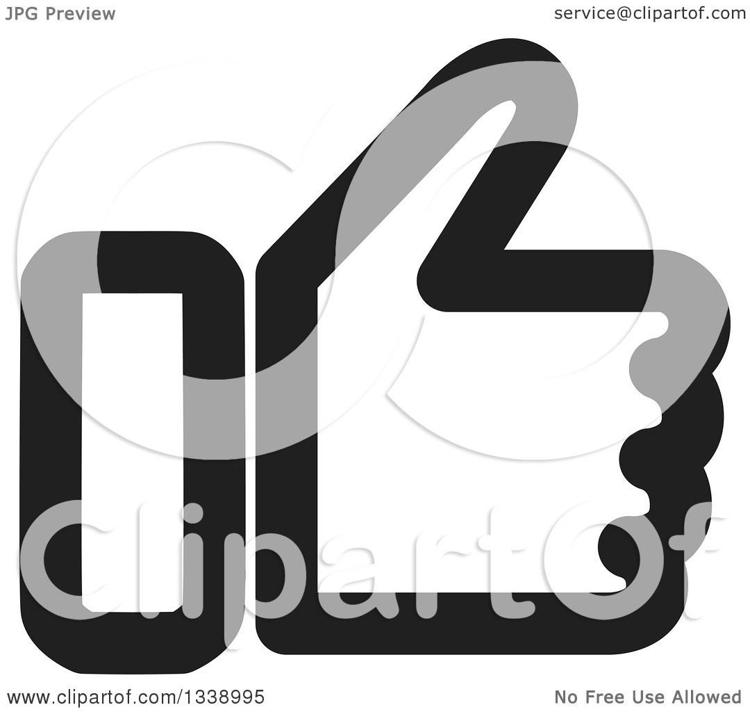 Clipart Of A Black And White Thumb Up Like App Icon Design Element