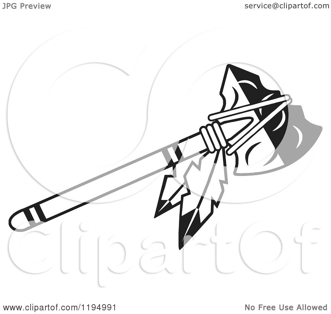 clipart of a black and white tomahawk with feathers royalty free rh clipartof com Indian Tomahawk Logo tomahawk clip art free