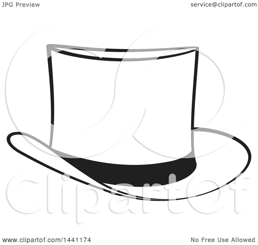 Clipart of a Black and White Top Hat - Royalty Free Vector ...