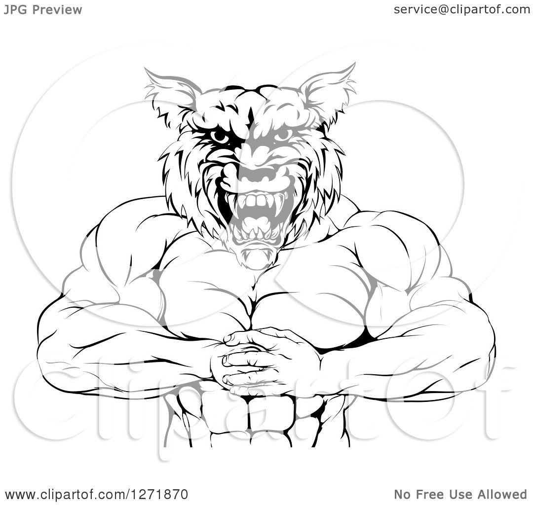 Clipart of a Black and White Tough Muscular Wolf Man ...