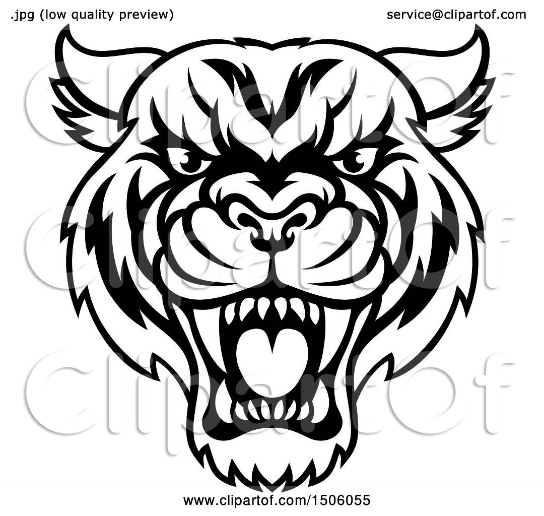 Clipart of a Black and White Tough Tiger Mascot Face ...